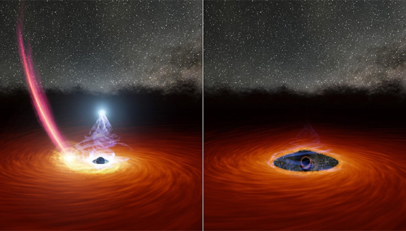"In the left panel: a streak of debris from a disrupted star is falling toward the disk, while the hot ""corona"" is still emitting X-rays (the ball of white light above the black hole). In the right panel: the debris has dispersed some of the gas, causing the corona to disappear. Credit: Robert Hurt, NASA / JPL."
