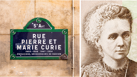Marie Curie as she was immortalized on a Polish bill and in a street named after her in France.