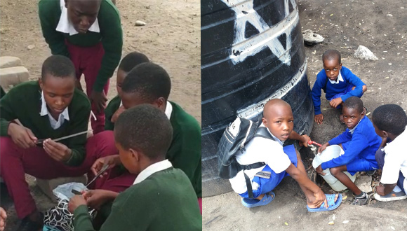 Left: local Scouts learning the new system. Left: children from the school using it to get clean water.