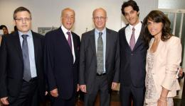 From left: Alliance Center Director Prof. Meir Litvak, Lord David Alliance, TAU President Joseph Klafter, Lord Alliance's wife and son