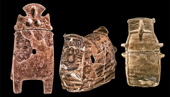 Coffins from the Chalcolithic Period, found in the Peqi'in Cave (Photo: Marianne Salzberger, courtesy of the Israel Antiquities Authority)