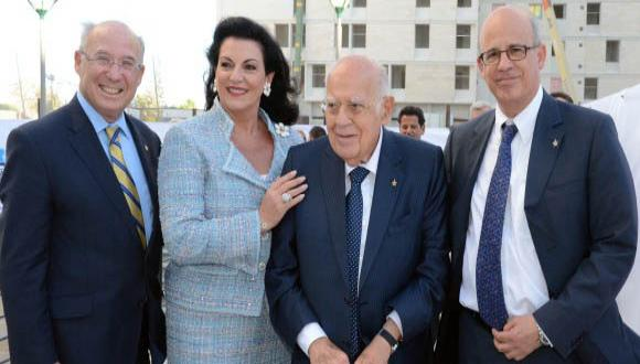 From left: TAU Board of Governors Chairman Prof. Jacob A. Frenkel, Mrs. Chella and Mr. Moise Safra, and TAU President Prof. Joseph Klafter. Photo courtesy of Peter Halmagyi.